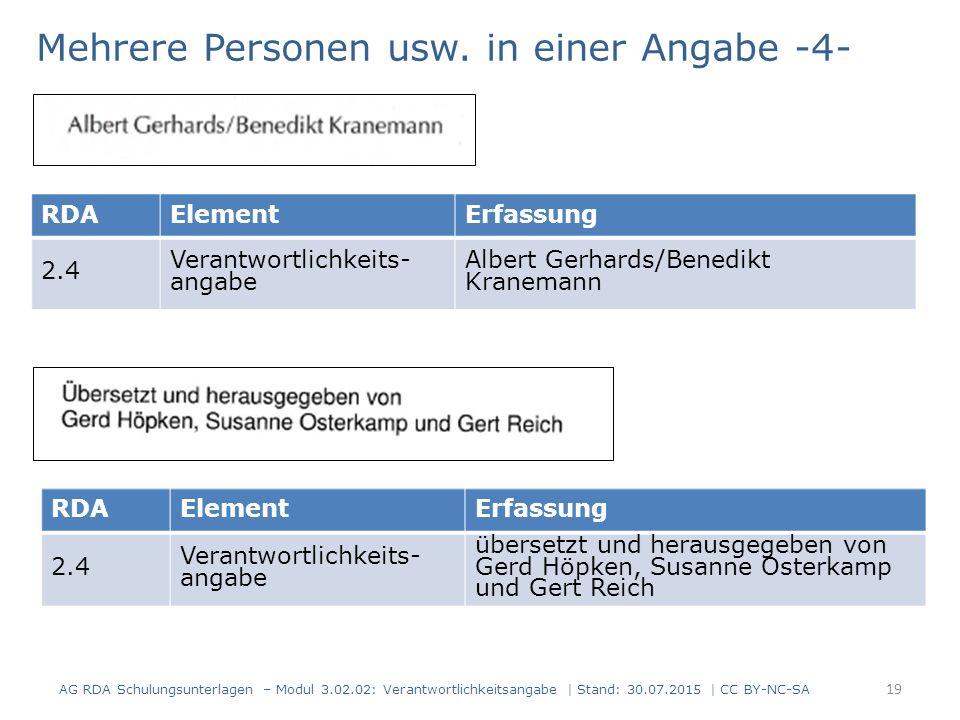 AG RDA Schulungsunterlagen – Modul 3.02.02: Verantwortlichkeitsangabe | Stand: 30.07.2015 | CC BY-NC-SA RDAElementErfassung 2.4 Verantwortlichkeits- angabe Albert Gerhards/Benedikt Kranemann Mehrere Personen usw.