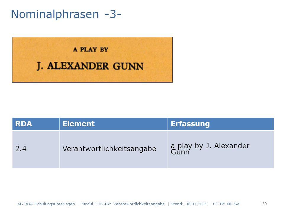 Nominalphrasen -3- AG RDA Schulungsunterlagen – Modul 3.02.02: Verantwortlichkeitsangabe | Stand: 30.07.2015 | CC BY-NC-SA RDAElementErfassung 2.4Verantwortlichkeitsangabe a play by J.