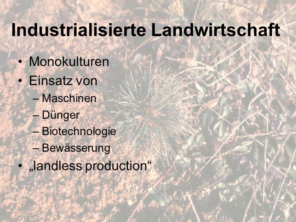 """Industrialisierte Landwirtschaft Monokulturen Einsatz von –Maschinen –Dünger –Biotechnologie –Bewässerung """"landless production"""