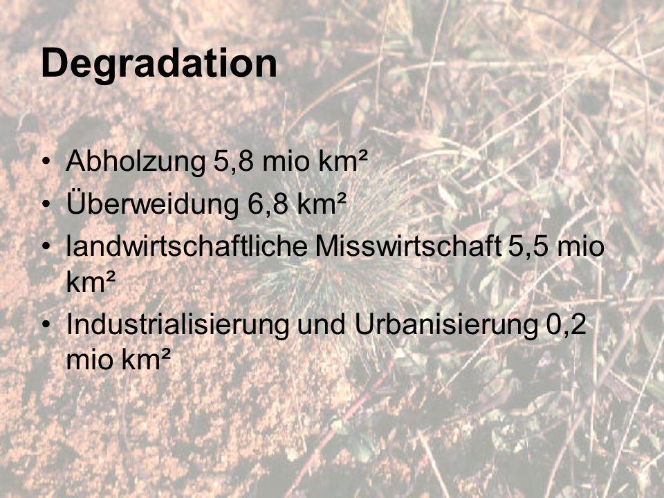 Degradation Abholzung 5,8 mio km² Überweidung 6,8 km² landwirtschaftliche Misswirtschaft 5,5 mio km² Industrialisierung und Urbanisierung 0,2 mio km²