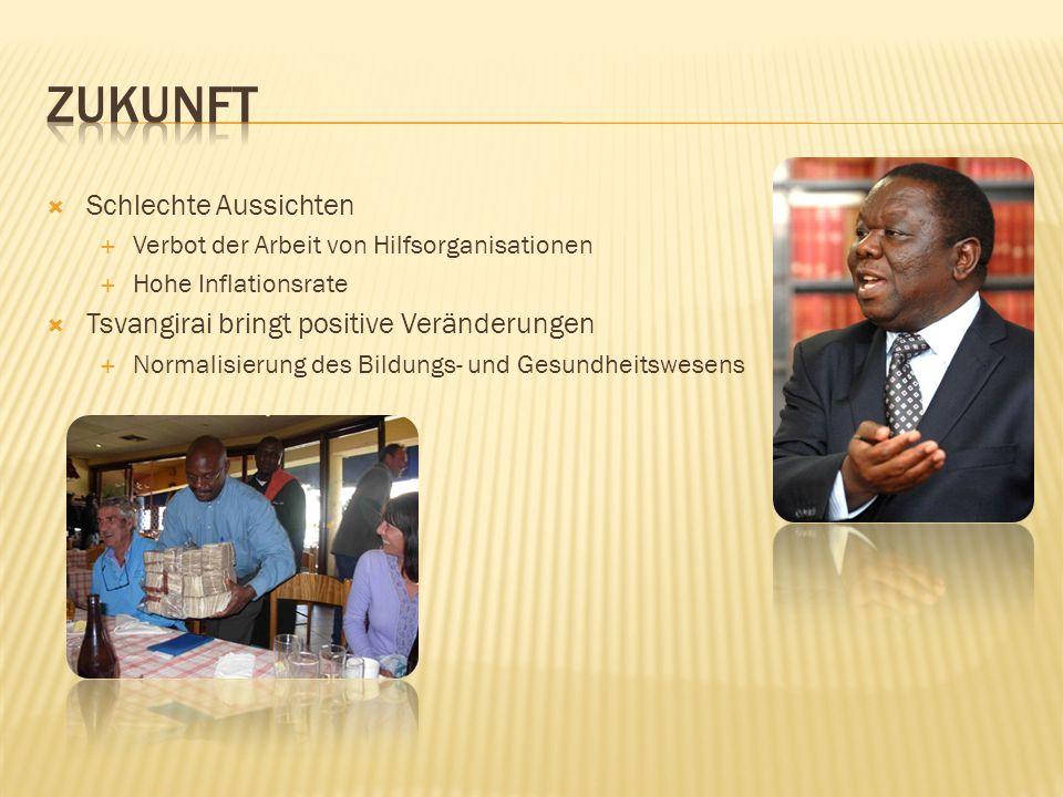  Schlechte Aussichten  Verbot der Arbeit von Hilfsorganisationen  Hohe Inflationsrate  Tsvangirai bringt positive Veränderungen  Normalisierung des Bildungs- und Gesundheitswesens