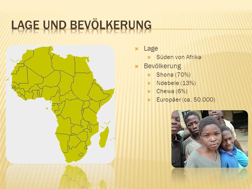  Lage  Süden von Afrika  Bevölkerung  Shona (70%)  Ndebele (13%)  Chewa (6%)  Europäer (ca.