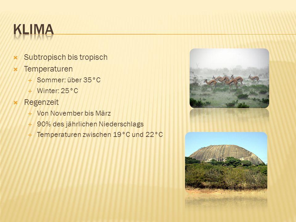  Subtropisch bis tropisch  Temperaturen  Sommer: über 35°C  Winter: 25°C  Regenzeit  Von November bis März  90% des jährlichen Niederschlags  Temperaturen zwischen 19°C und 22°C