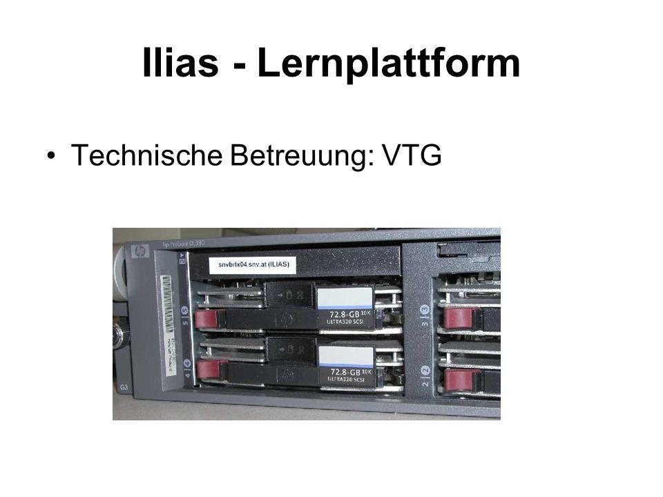 Ilias - Lernplattform Technische Betreuung: VTG