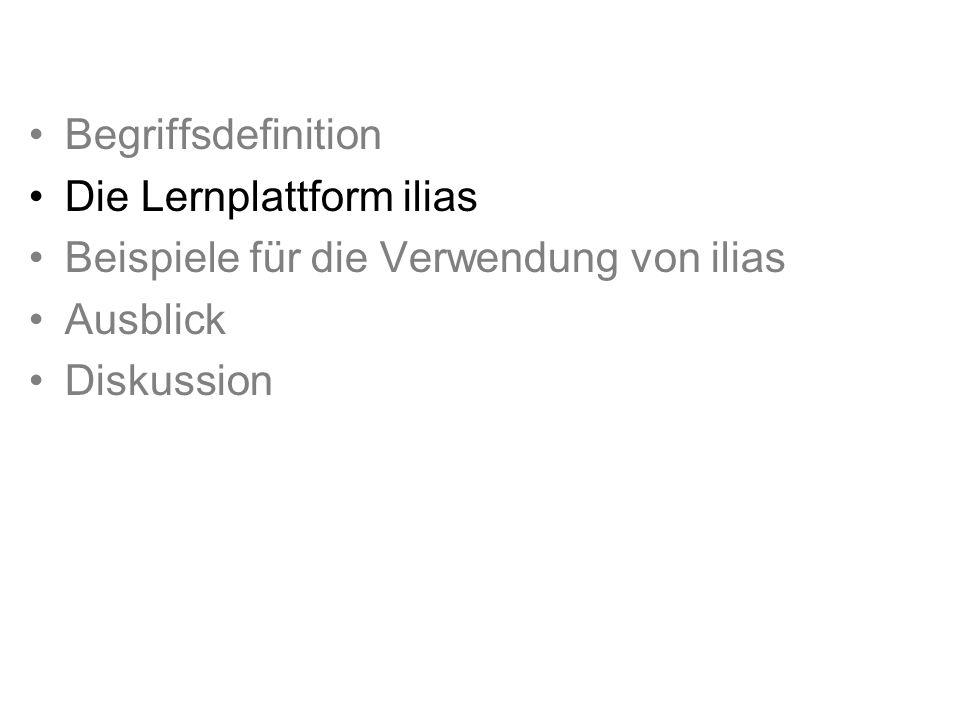 Lernplattform Ilias dient der Bereitstellung von Lerninhalten und der Organisation von Lernvorgängen.
