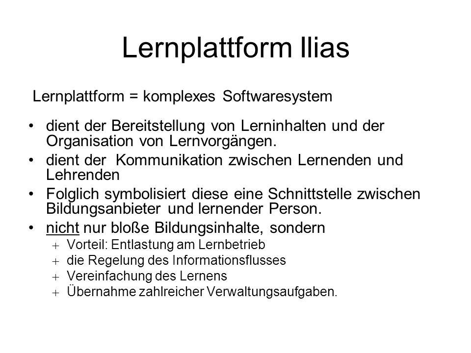 Ilias - Lernplattform Open Source Lernplattform Vorarlberg ILIAS = Integriertes Lern-, Informations- und Arbeitskooperations-System (von UNI Köln weiterentwickelt.