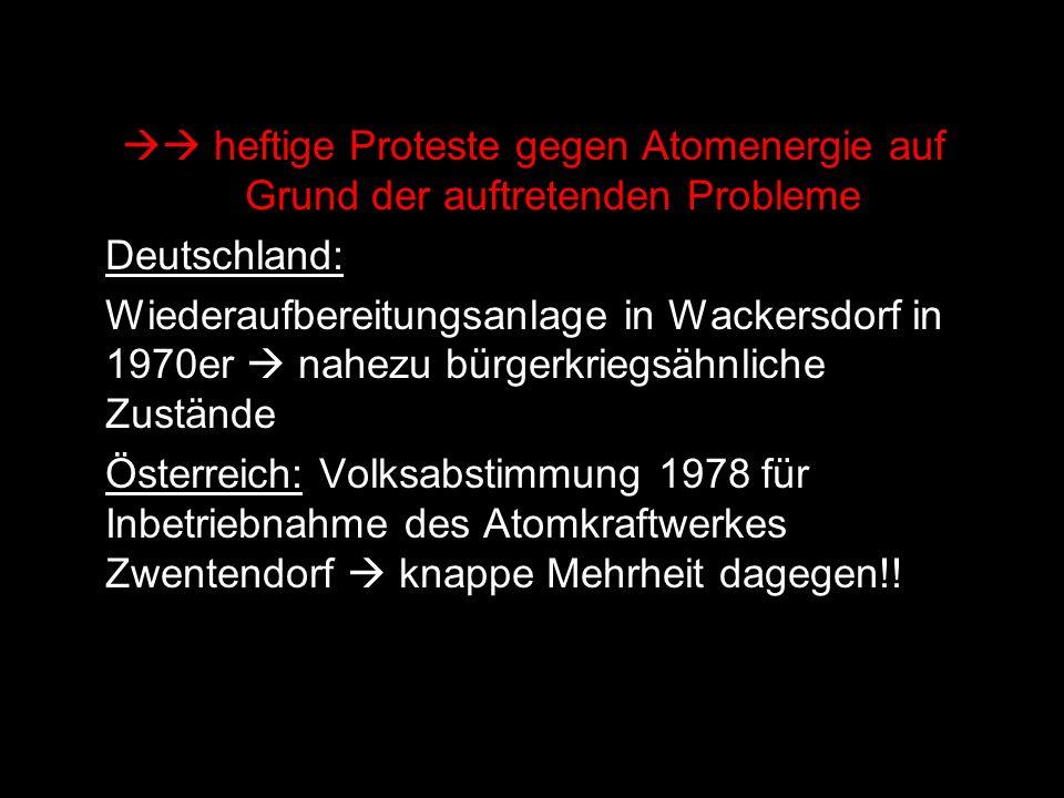  heftige Proteste gegen Atomenergie auf Grund der auftretenden Probleme Deutschland: Wiederaufbereitungsanlage in Wackersdorf in 1970er  nahezu bür