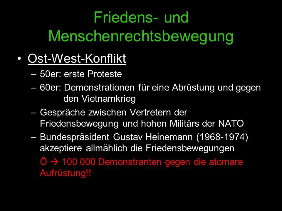 Friedens- und Menschenrechtsbewegung Ost-West-Konflikt –50er: erste Proteste –60er: Demonstrationen für eine Abrüstung und gegen den Vietnamkrieg –Ges