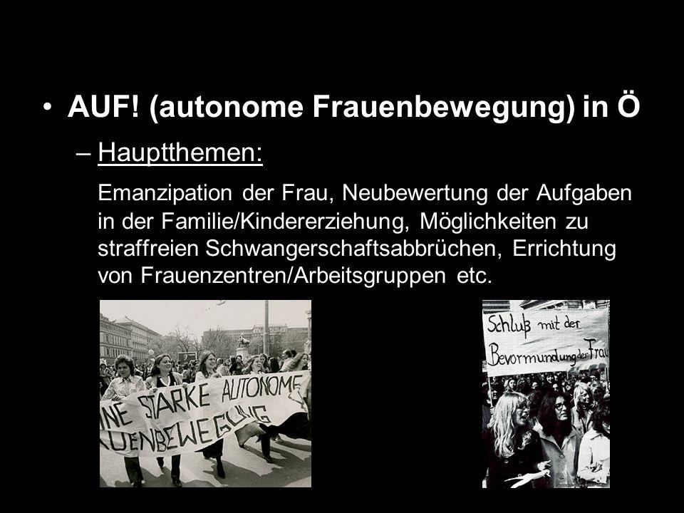 AUF! (autonome Frauenbewegung) in Ö –Hauptthemen: Emanzipation der Frau, Neubewertung der Aufgaben in der Familie/Kindererziehung, Möglichkeiten zu st