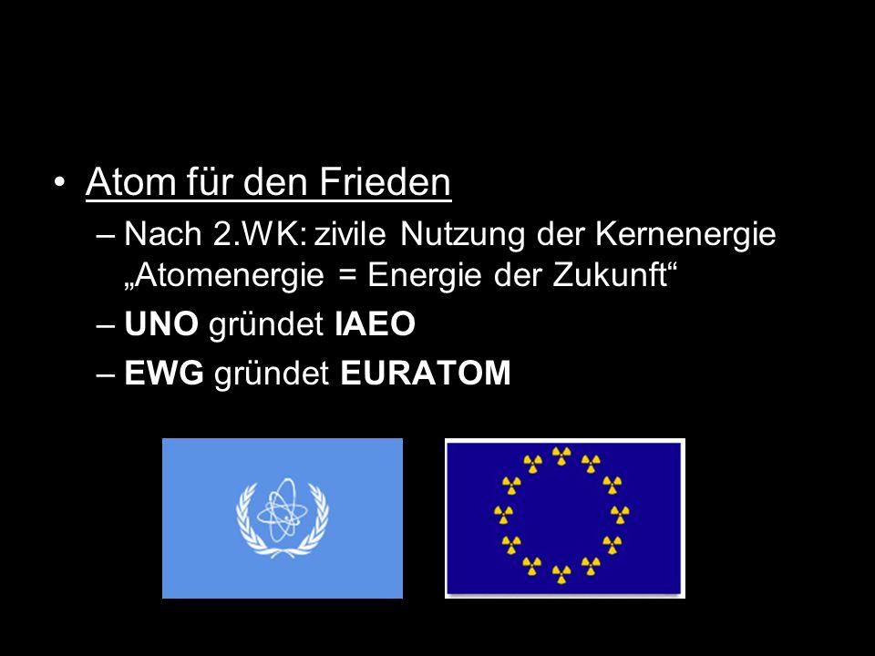 """Atom für den Frieden –Nach 2.WK: zivile Nutzung der Kernenergie """"Atomenergie = Energie der Zukunft"""" –UNO gründet IAEO –EWG gründet EURATOM"""