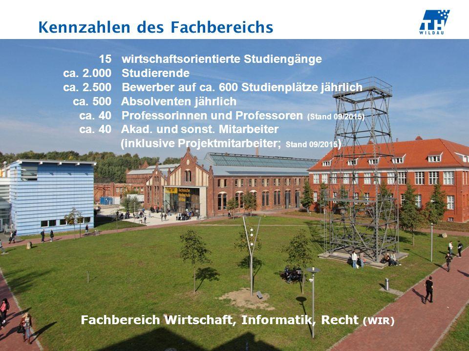 Kennzahlen des Fachbereichs Fachbereich Wirtschaft, Informatik, Recht (WIR) 15 wirtschaftsorientierte Studiengänge ca.