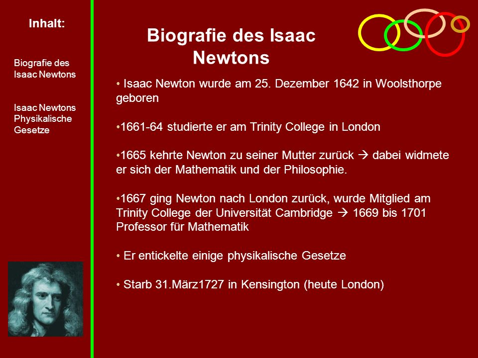Inhalt: Biografie des Isaac Newtons Isaac Newtons Physikalische Gesetze Biografie des Isaac Newtons Isaac Newton wurde am 25.
