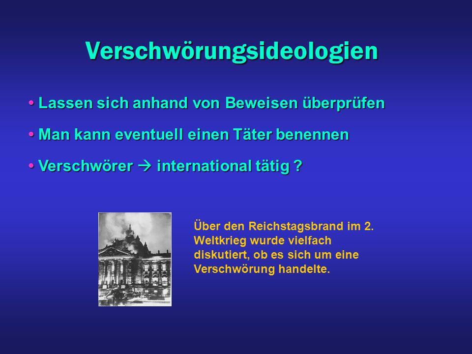 Verschwörungsideologien Man kann eventuell einen Täter benennen Man kann eventuell einen Täter benennen Über den Reichstagsbrand im 2. Weltkrieg wurde