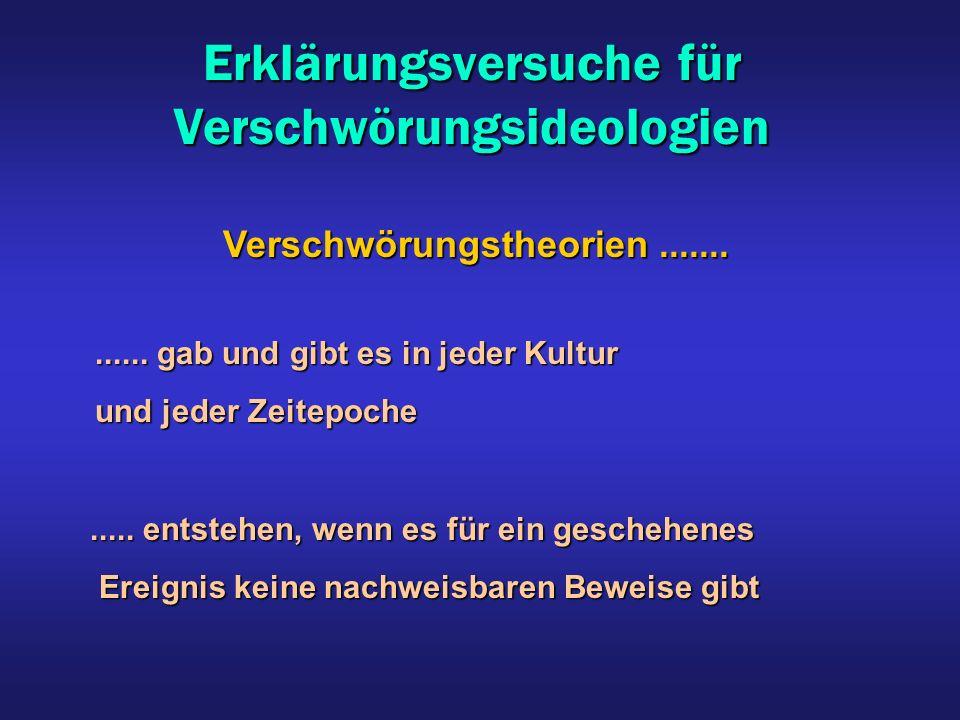 Erklärungsversuche für Verschwörungsideologien Verschwörungstheorien....... Verschwörungstheorien............. gab und gibt es in jeder Kultur...... g