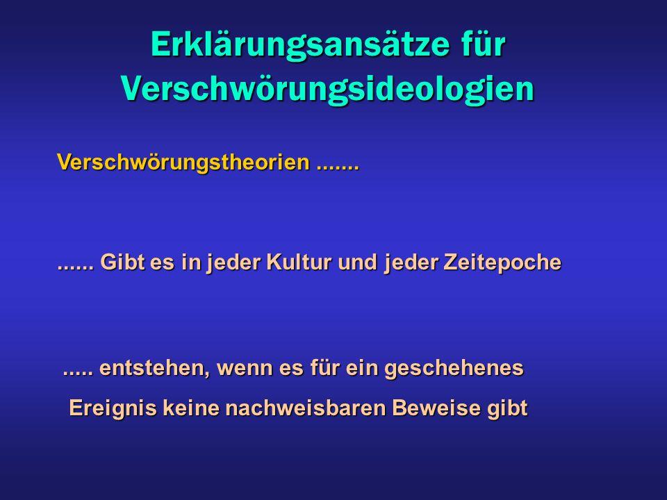 Erklärungsansätze für Verschwörungsideologien Verschwörungstheorien.............