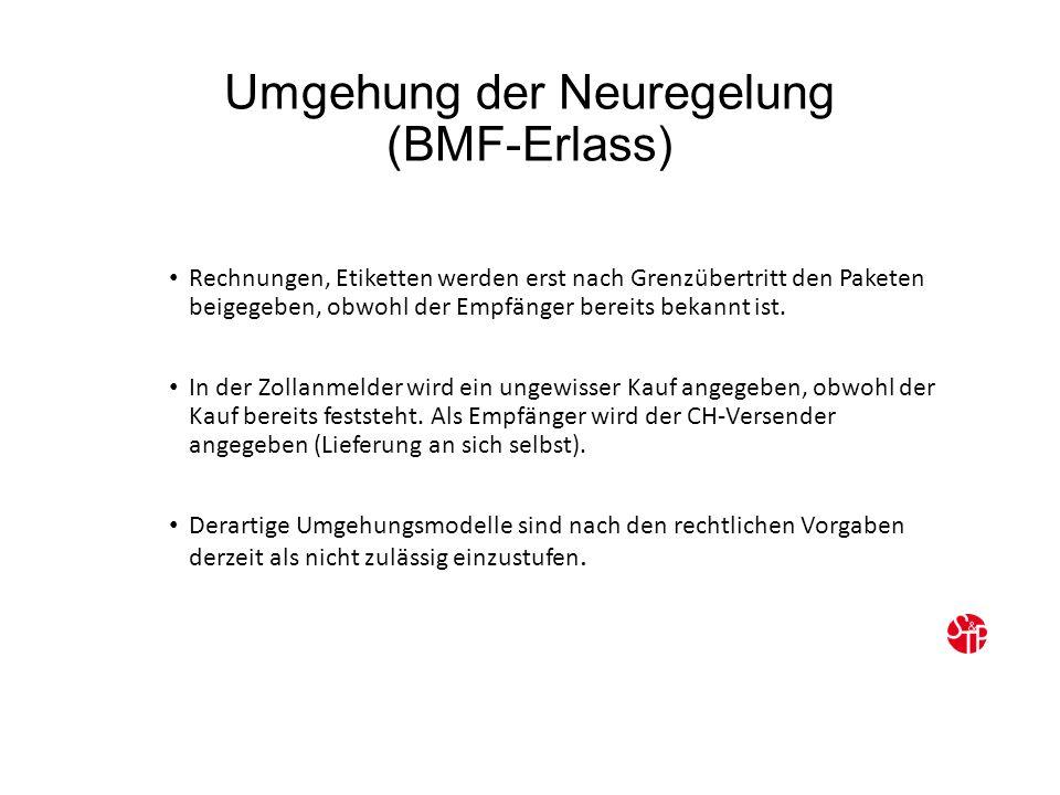 Umgehung der Neuregelung (BMF-Erlass) Rechnungen, Etiketten werden erst nach Grenzübertritt den Paketen beigegeben, obwohl der Empfänger bereits bekannt ist.