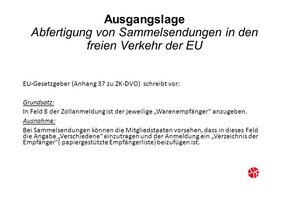 """Ausgangslage Abfertigung von Sammelsendungen in den freien Verkehr der EU EU-Gesetzgeber (Anhang 37 zu ZK-DVO) schreibt vor: Grundsatz: In Feld 8 der Zollanmeldung ist der jeweilige """"Warenempfänger anzugeben."""