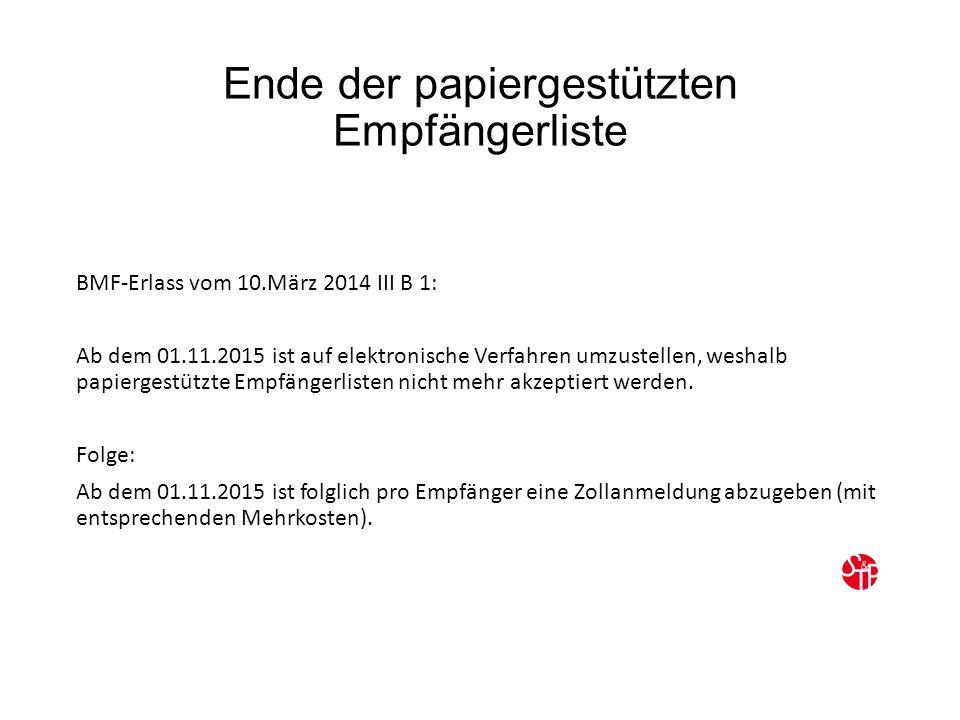 Ende der papiergestützten Empfängerliste BMF-Erlass vom 10.März 2014 III B 1: Ab dem 01.11.2015 ist auf elektronische Verfahren umzustellen, weshalb papiergestützte Empfängerlisten nicht mehr akzeptiert werden.