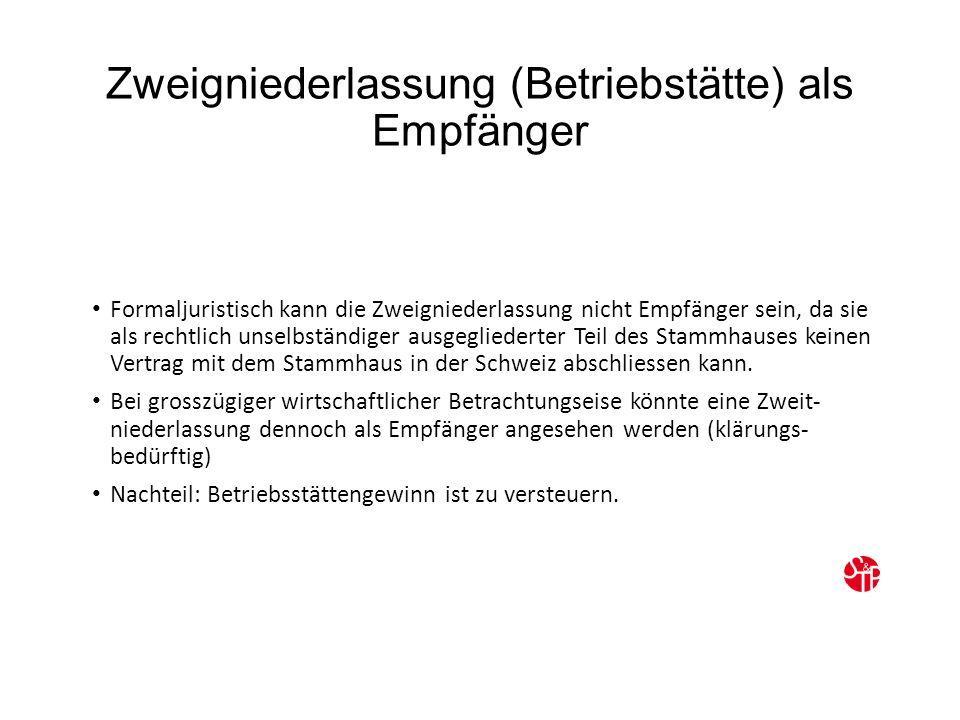 Zweigniederlassung (Betriebstätte) als Empfänger Formaljuristisch kann die Zweigniederlassung nicht Empfänger sein, da sie als rechtlich unselbständiger ausgegliederter Teil des Stammhauses keinen Vertrag mit dem Stammhaus in der Schweiz abschliessen kann.