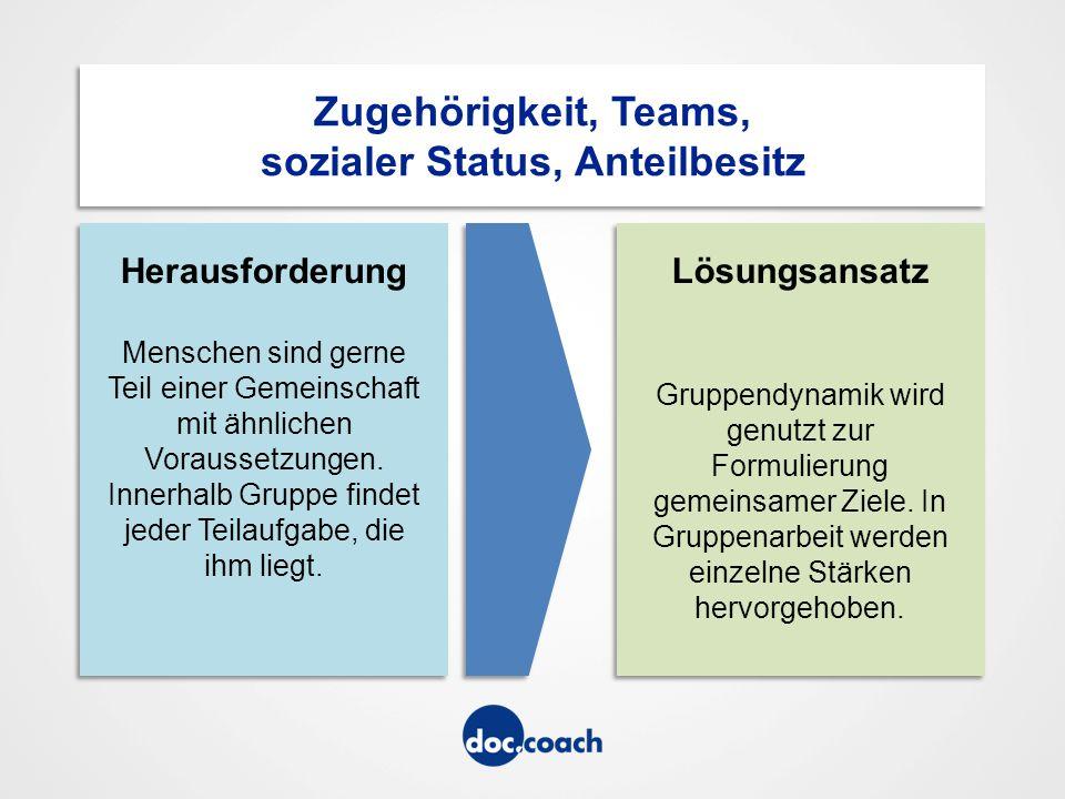 Zugehörigkeit, Teams, sozialer Status, Anteilbesitz Herausforderung Menschen sind gerne Teil einer Gemeinschaft mit ähnlichen Voraussetzungen.