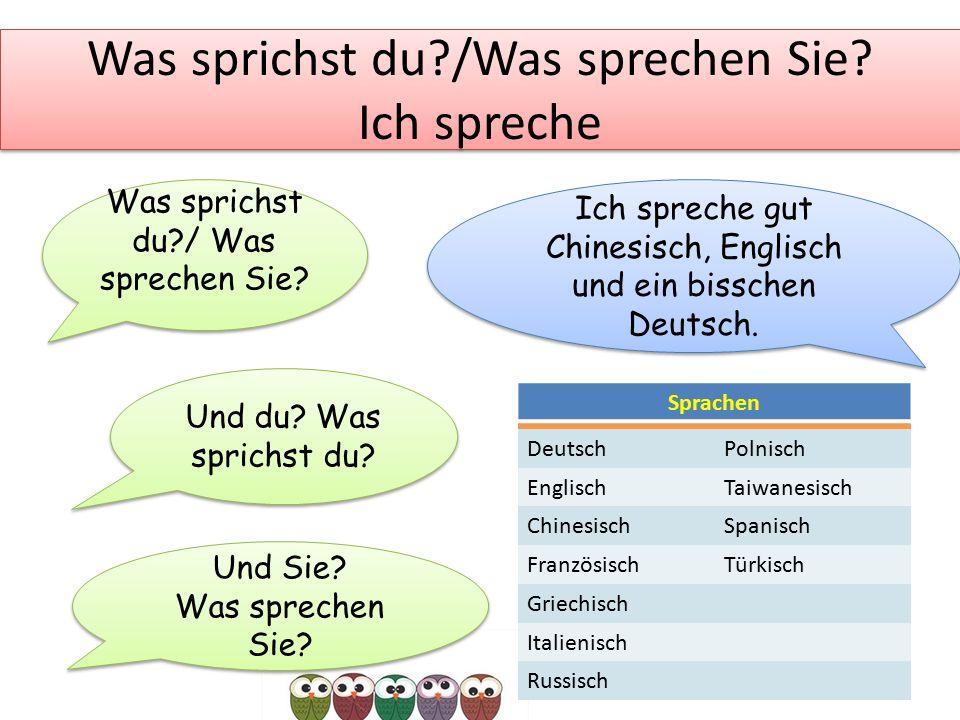 Was sprichst du?/Was sprechen Sie? Ich spreche Was sprichst du?/ Was sprechen Sie? Ich spreche gut Chinesisch, Englisch und ein bisschen Deutsch. Und