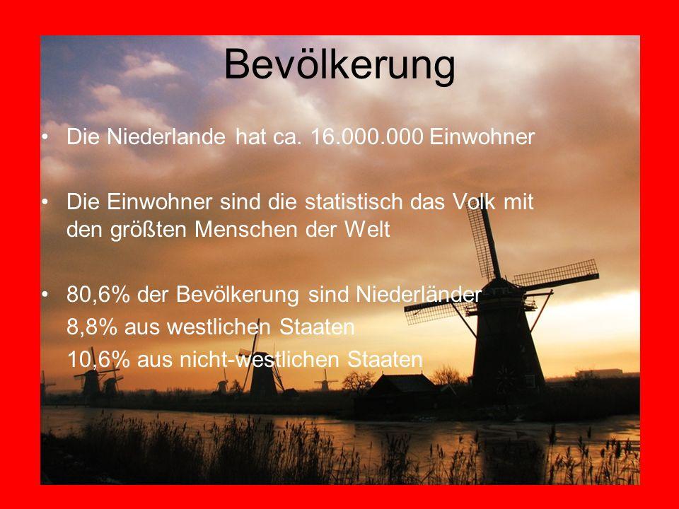 Bevölkerung Die Niederlande hat ca. 16.000.000 Einwohner Die Einwohner sind die statistisch das Volk mit den größten Menschen der Welt 80,6% der Bevöl