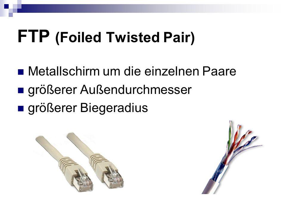 FTP (Foiled Twisted Pair) Metallschirm um die einzelnen Paare größerer Außendurchmesser größerer Biegeradius