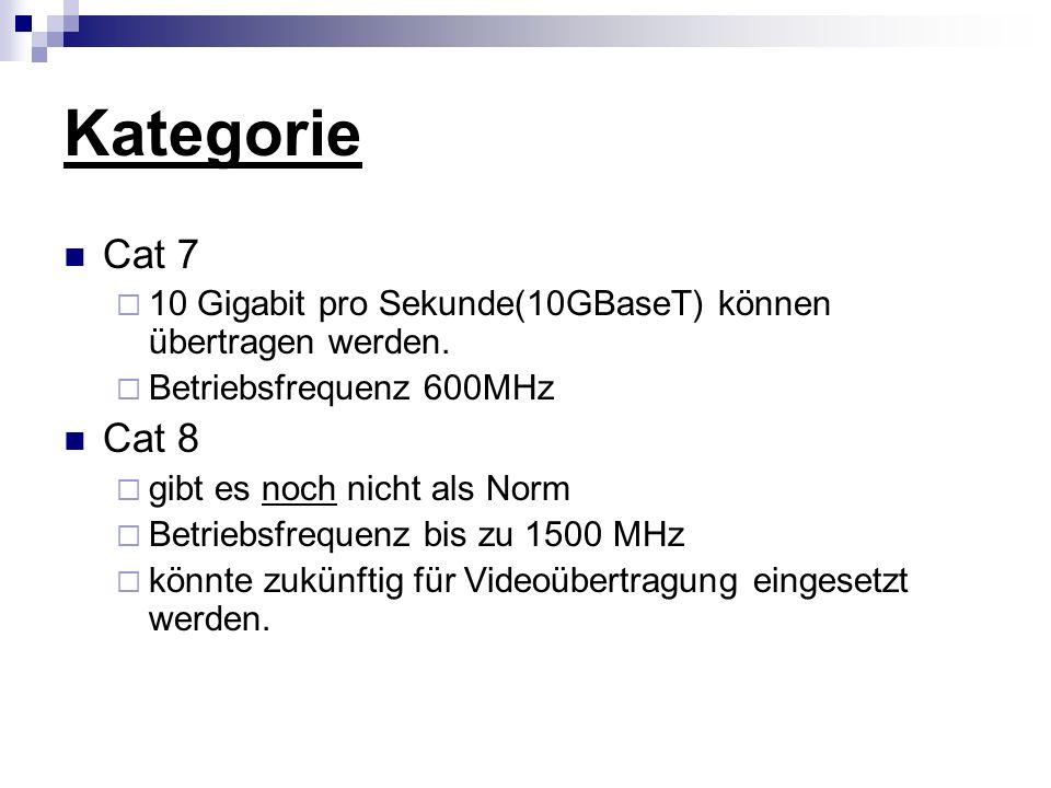 Kategorie Cat 7  10 Gigabit pro Sekunde(10GBaseT) können übertragen werden.  Betriebsfrequenz 600MHz Cat 8  gibt es noch nicht als Norm  Betriebsf
