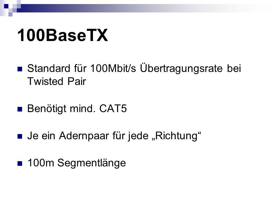 """100BaseTX Standard für 100Mbit/s Übertragungsrate bei Twisted Pair Benötigt mind. CAT5 Je ein Adernpaar für jede """"Richtung"""" 100m Segmentlänge"""