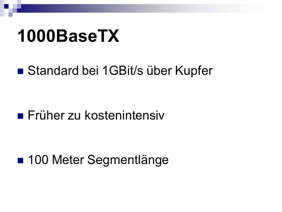 1000BaseTX Standard bei 1GBit/s über Kupfer Früher zu kostenintensiv 100 Meter Segmentlänge