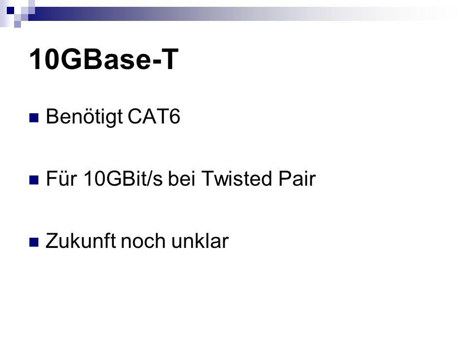 10GBase-T Benötigt CAT6 Für 10GBit/s bei Twisted Pair Zukunft noch unklar