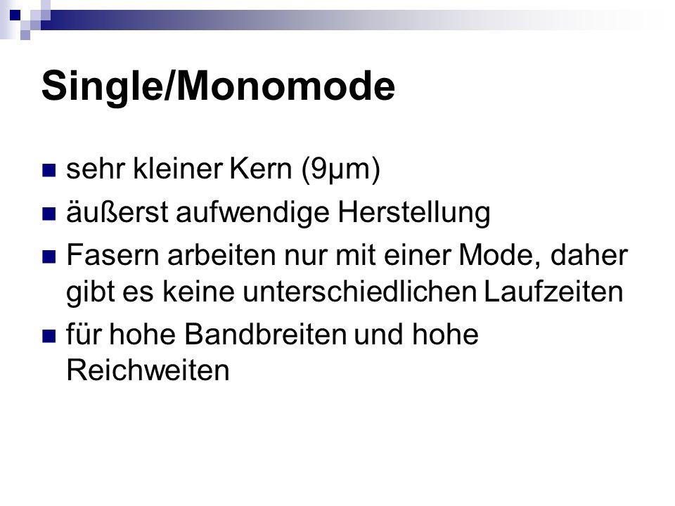 Single/Monomode sehr kleiner Kern (9µm) äußerst aufwendige Herstellung Fasern arbeiten nur mit einer Mode, daher gibt es keine unterschiedlichen Laufz