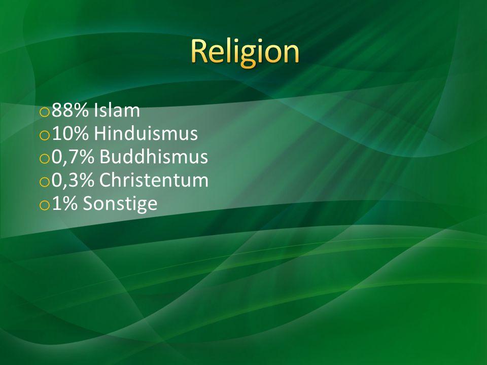 o 88% Islam o 10% Hinduismus o 0,7% Buddhismus o 0,3% Christentum o 1% Sonstige
