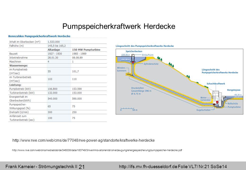 Frank Kameier - Strömungstechnik II http://ifs.mv.fh-duesseldorf.de Folie VL7/ Nr.21 SoSe14 21 Pumpspeicherkraftwerk Herdecke http://www.rwe.com/web/c