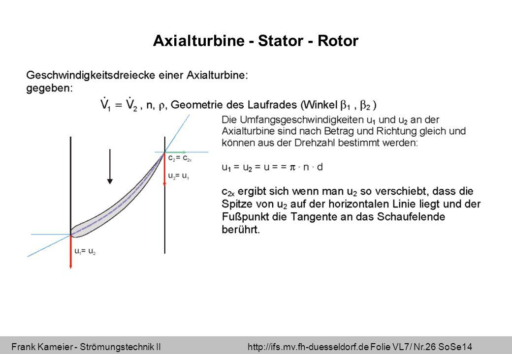 Frank Kameier - Strömungstechnik II http://ifs.mv.fh-duesseldorf.de Folie VL7/ Nr.26 SoSe14 Axialturbine - Stator - Rotor
