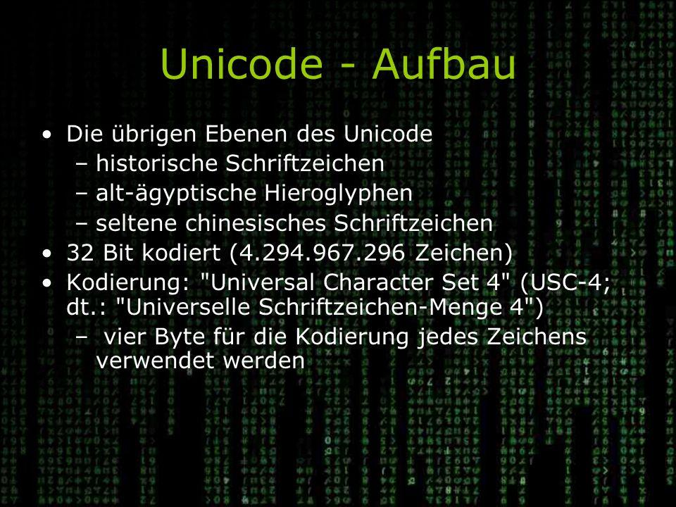 Unicode - Aufbau Die übrigen Ebenen des Unicode –historische Schriftzeichen –alt-ägyptische Hieroglyphen –seltene chinesisches Schriftzeichen 32 Bit kodiert (4.294.967.296 Zeichen) Kodierung: Universal Character Set 4 (USC-4; dt.: Universelle Schriftzeichen-Menge 4 ) – vier Byte für die Kodierung jedes Zeichens verwendet werden