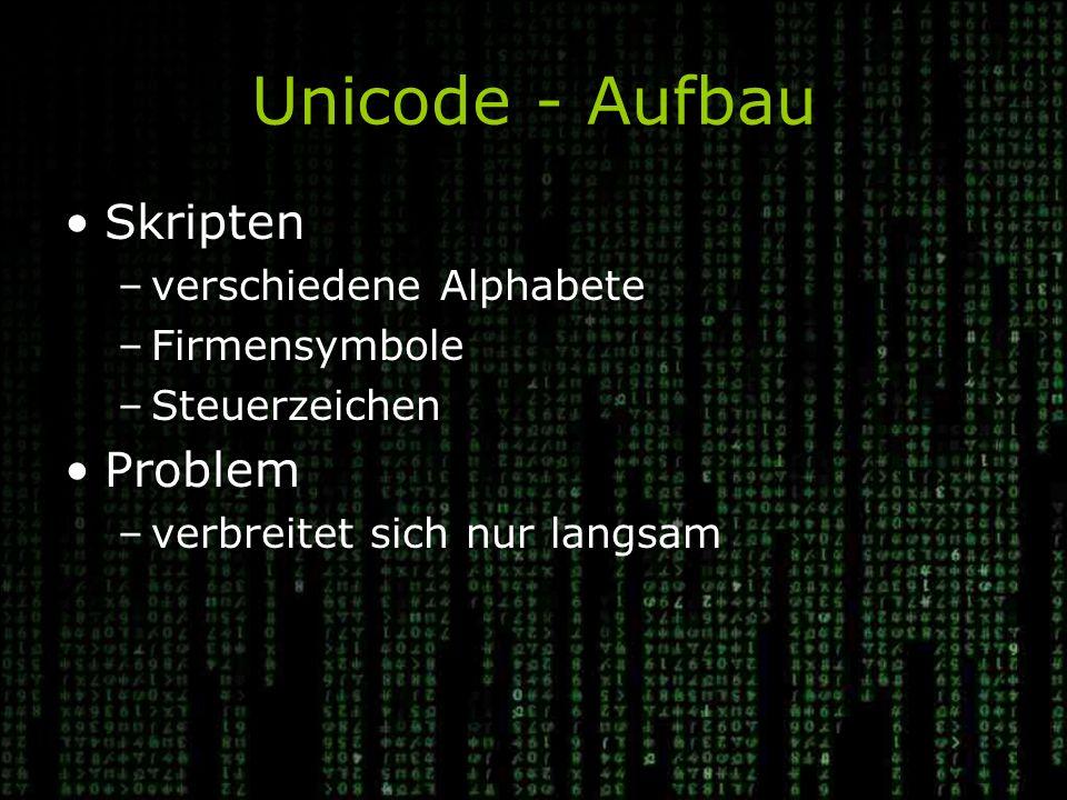 Unicode - Aufbau Skripten –verschiedene Alphabete –Firmensymbole –Steuerzeichen Problem –verbreitet sich nur langsam