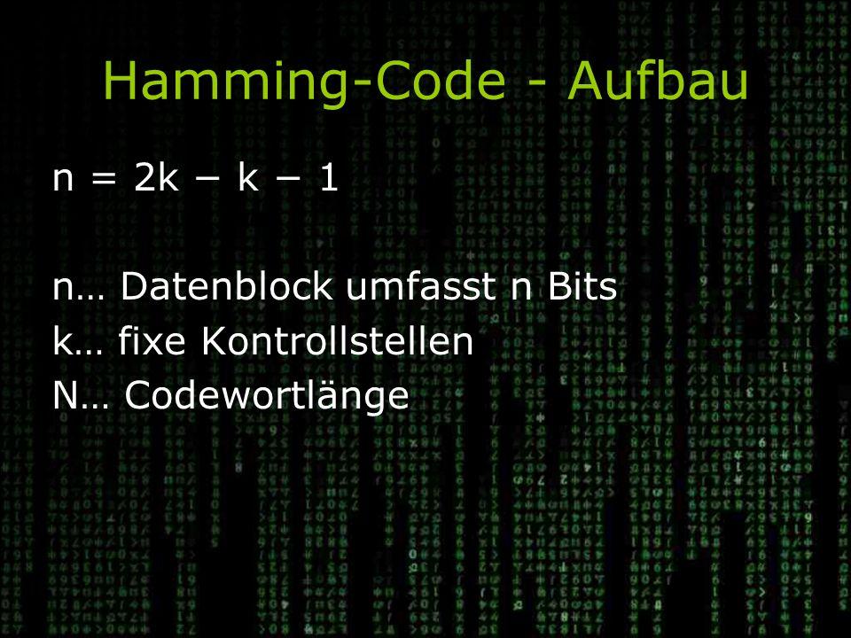 Hamming-Code - Aufbau n = 2k − k − 1 n… Datenblock umfasst n Bits k… fixe Kontrollstellen N… Codewortlänge
