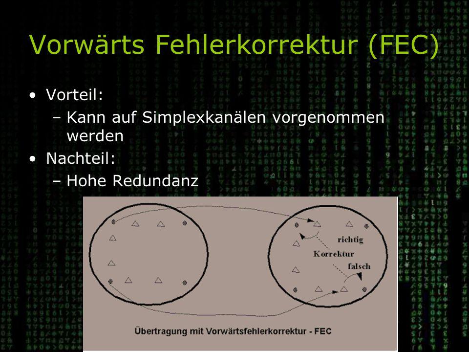Vorwärts Fehlerkorrektur (FEC) Vorteil: –Kann auf Simplexkanälen vorgenommen werden Nachteil: –Hohe Redundanz