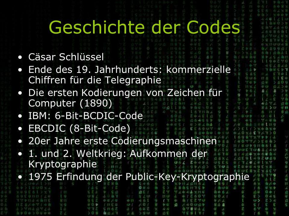 Geschichte der Codes Cäsar Schlüssel Ende des 19.