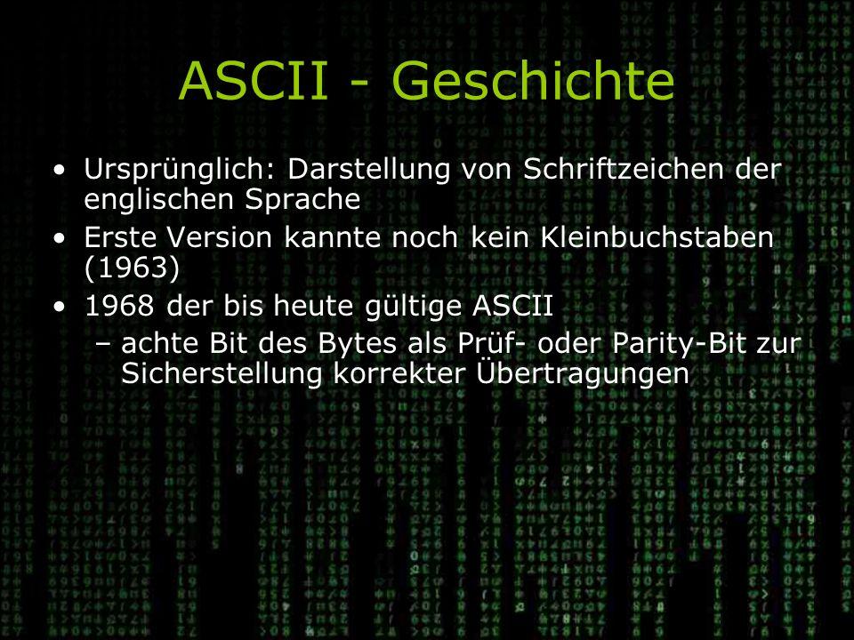 ASCII - Geschichte Ursprünglich: Darstellung von Schriftzeichen der englischen Sprache Erste Version kannte noch kein Kleinbuchstaben (1963) 1968 der bis heute gültige ASCII –achte Bit des Bytes als Prüf- oder Parity-Bit zur Sicherstellung korrekter Übertragungen