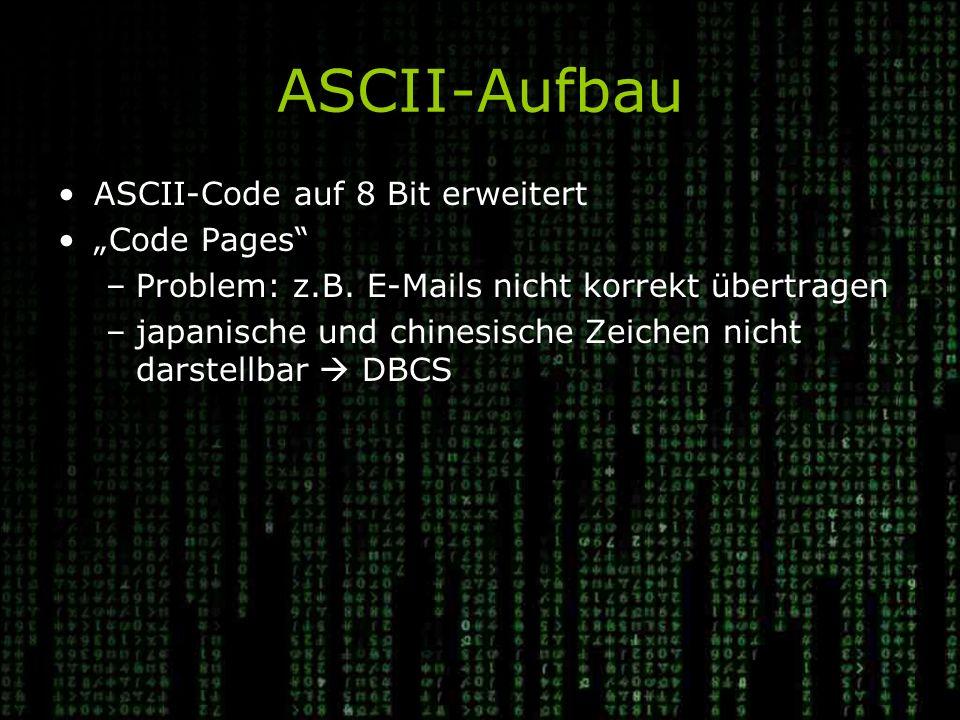 """ASCII-Aufbau ASCII-Code auf 8 Bit erweitert """"Code Pages –Problem: z.B."""