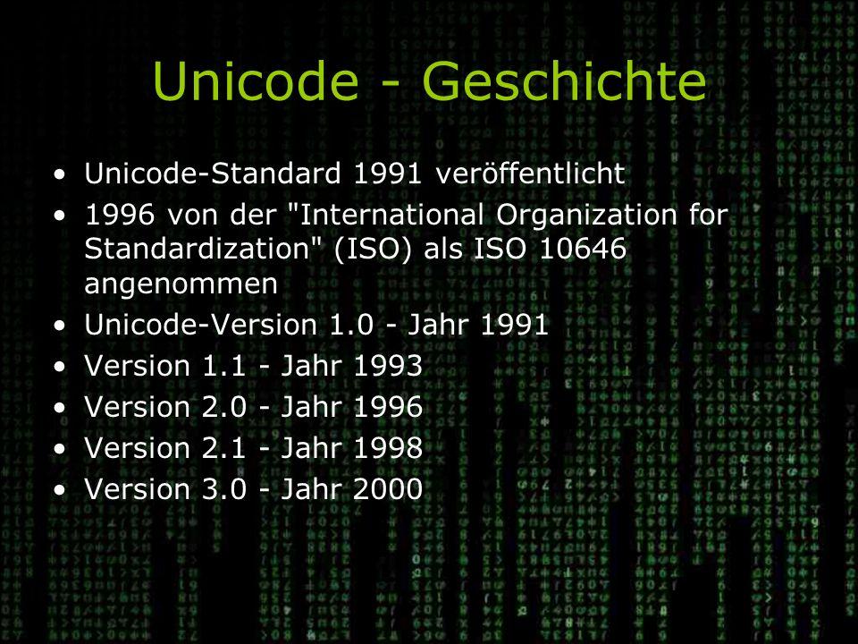 Unicode - Geschichte Unicode-Standard 1991 veröffentlicht 1996 von der International Organization for Standardization (ISO) als ISO 10646 angenommen Unicode-Version 1.0 - Jahr 1991 Version 1.1 - Jahr 1993 Version 2.0 - Jahr 1996 Version 2.1 - Jahr 1998 Version 3.0 - Jahr 2000