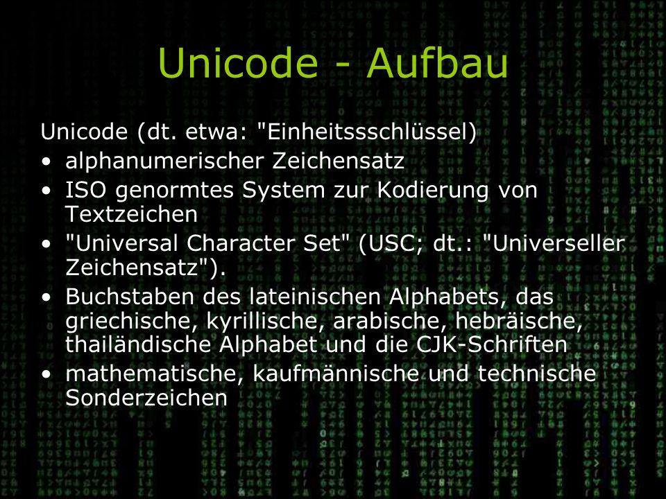 Unicode - Aufbau Unicode (dt.