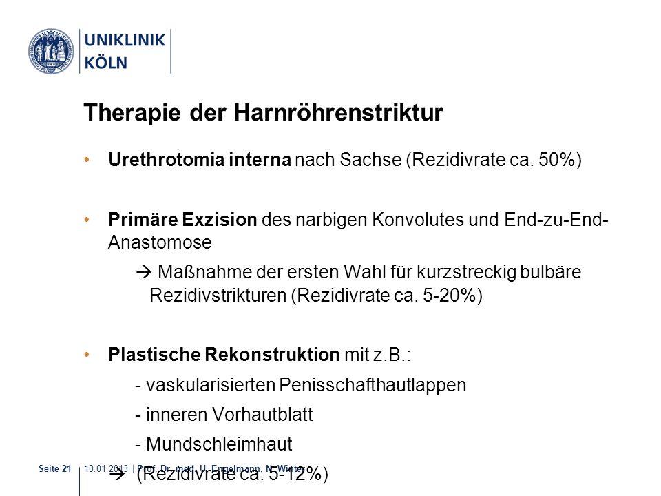 10.01.2013 | Prof. Dr. med. U. Engelmann, N. Winter Seite 21 Therapie der Harnröhrenstriktur Urethrotomia interna nach Sachse (Rezidivrate ca. 50%) Pr