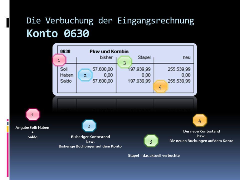 Die Verbuchung der Eingangsrechnung Offener Posten (OP) Die laufende Fakturennummer Bruttobetrag Erstellungsdatum Sachverhalt bzw.