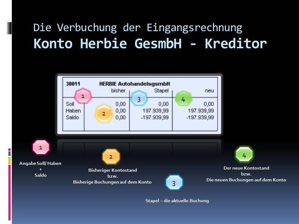 Die Verbuchung der Eingangsrechnung Konto 0630 1 4 3 2 1 Angabe Soll/ Haben + Saldo 2 Bisheriger Kontostand bzw.