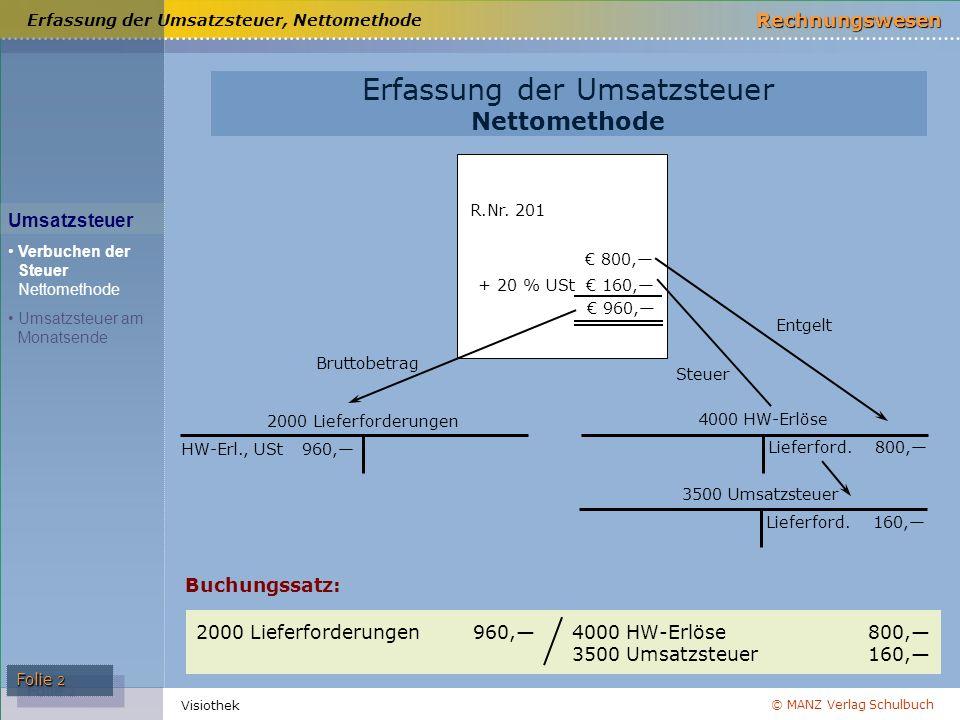 © MANZ Verlag Schulbuch Rechnungswesen Visiothek Folie 2 Erfassung der Umsatzsteuer Nettomethode Buchungssatz: R.Nr. 201 € 800,— € 960,— + 20 % USt €