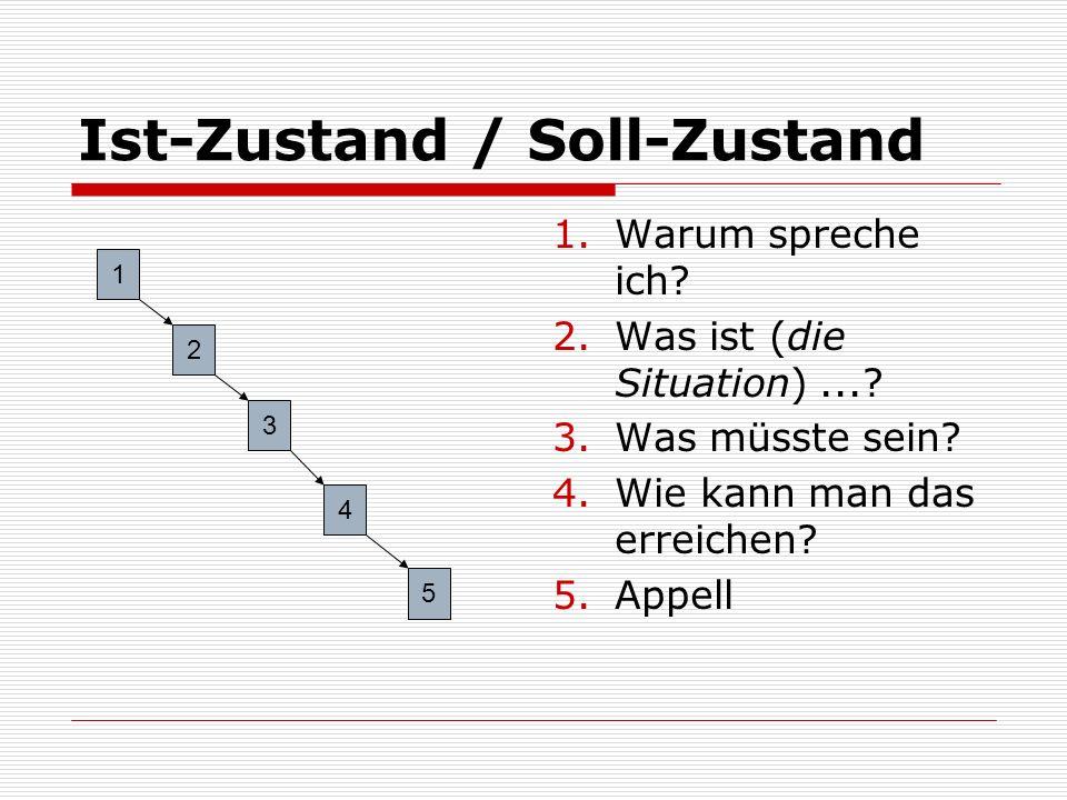 Ist-Zustand / Soll-Zustand 1.Warum spreche ich? 2.Was ist (die Situation)...? 3.Was müsste sein? 4.Wie kann man das erreichen? 5.Appell 1 2 3 4 5