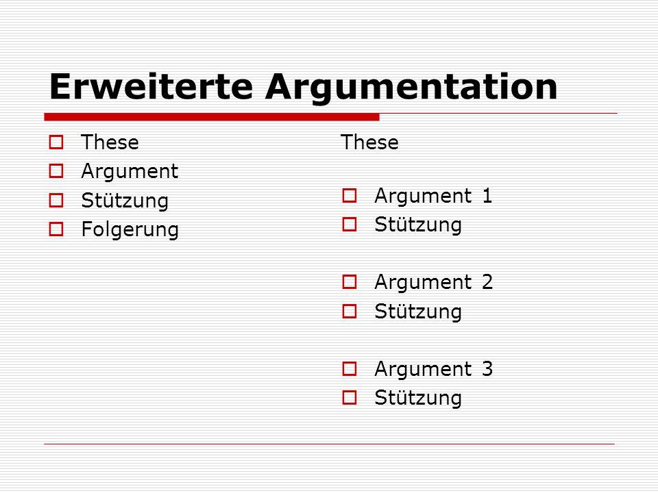 Erweiterte Argumentation  These  Argument  Stützung  Folgerung These  Argument 1  Stützung  Argument 2  Stützung  Argument 3  Stützung